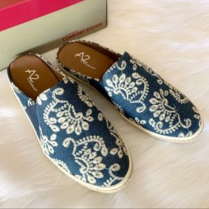 A2 by Aerosoles embroidered denim espadrille mules